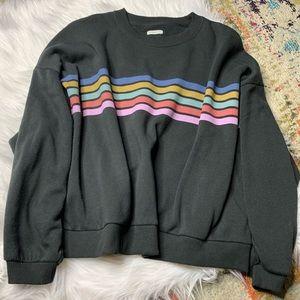 American Eagle Fleece Rainbow Striped Sweatshirt